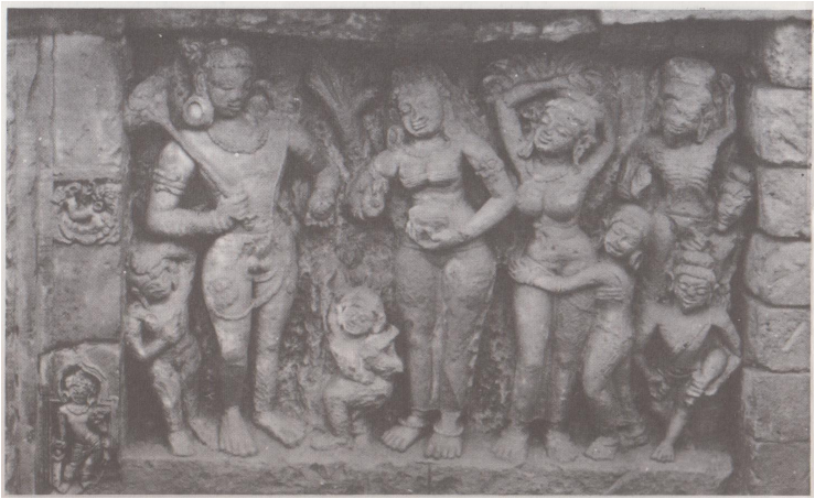 Stone sculpture depicting the ' offering of poison to Siva' Paharpur